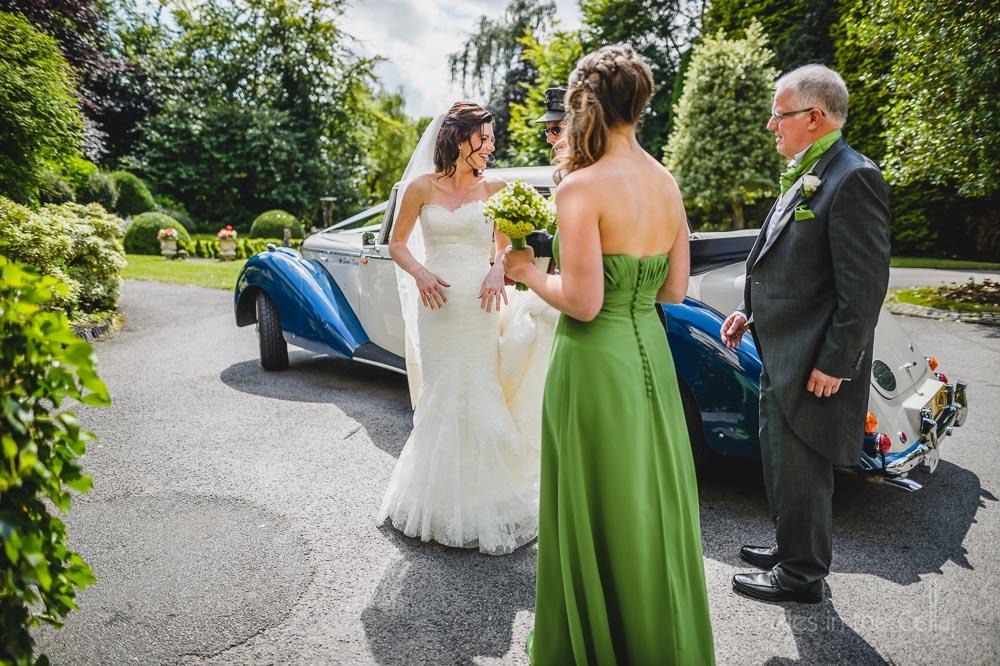 bride dad bridesmaid sunny day