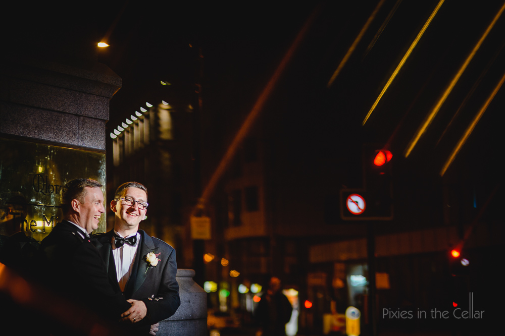 groom and groom manchester night time gay wedding photography