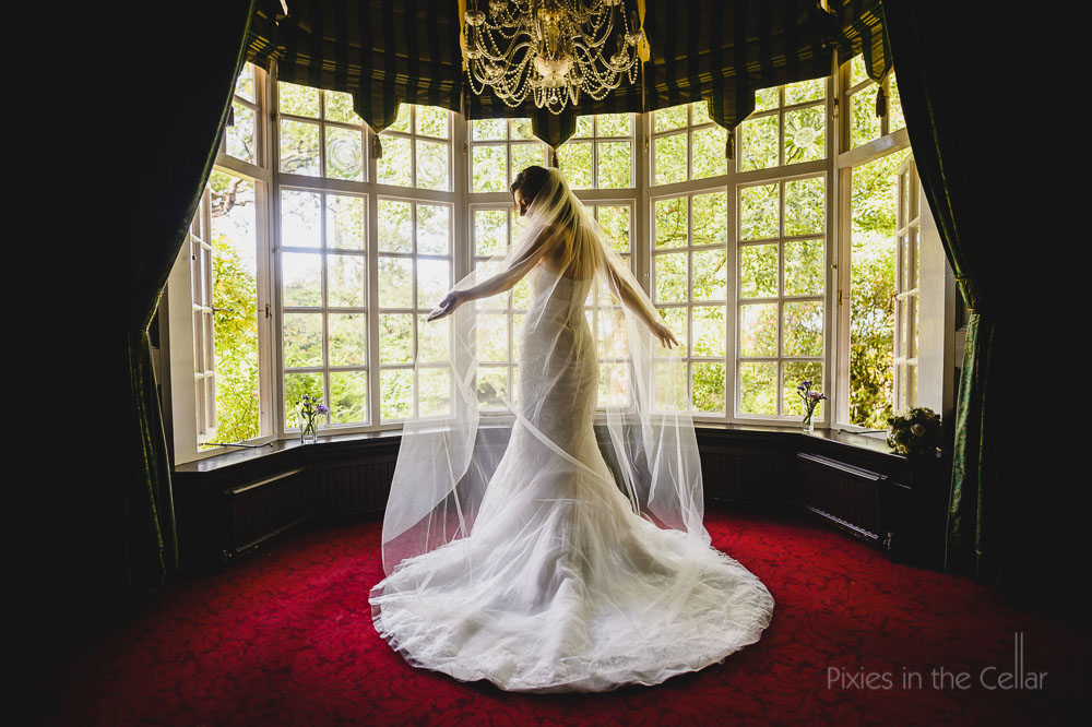 bride long veil window