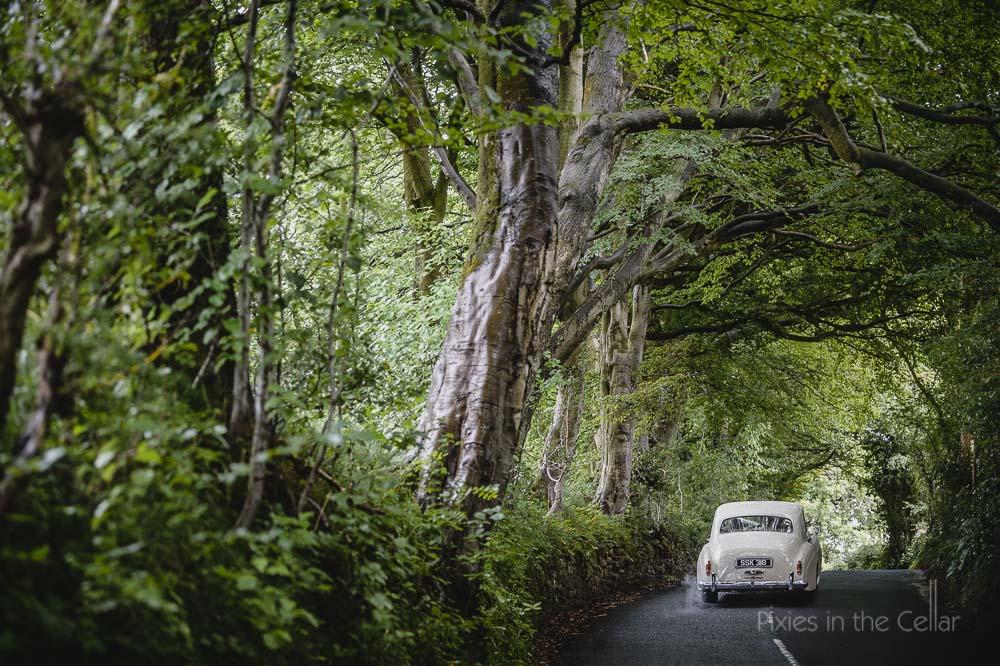 classic rolls royce tree lined lancashire lane
