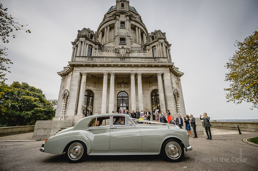 Lancaster wedding photography car at ashton memorial