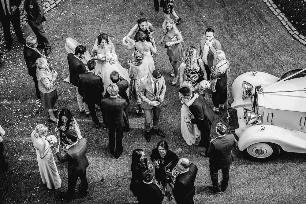 wedding guests from above