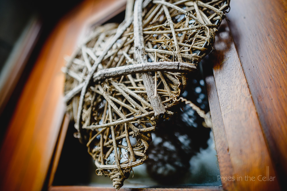 Samlesbury Hall Wedding Photography twig heart decoration