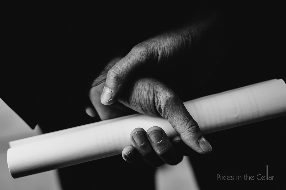 hands paper roll