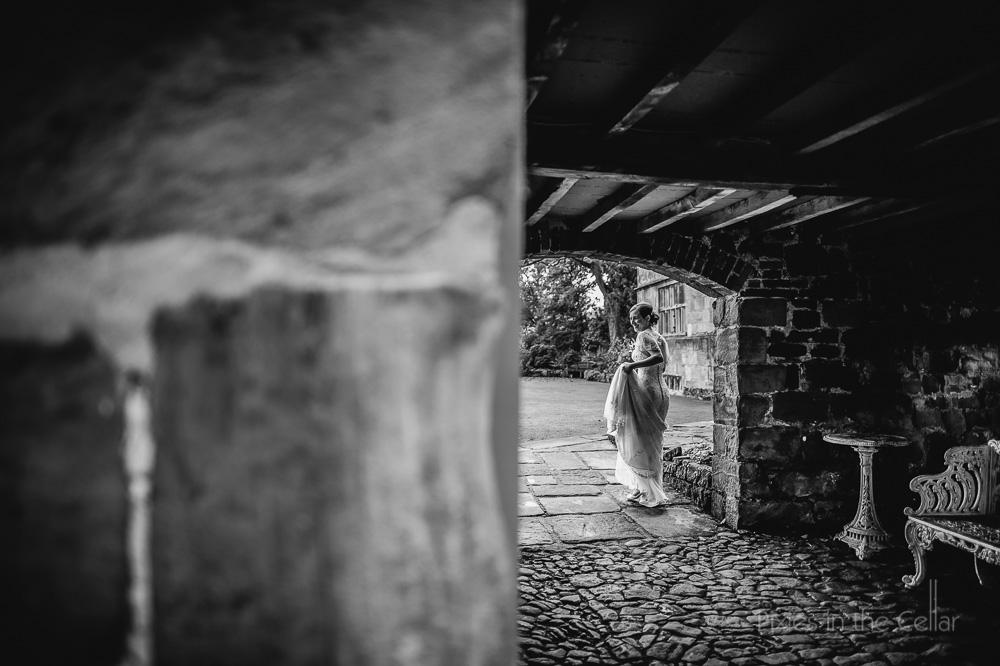 bride in archway