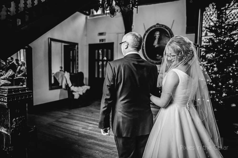 bride and dad Samlesbury Hall