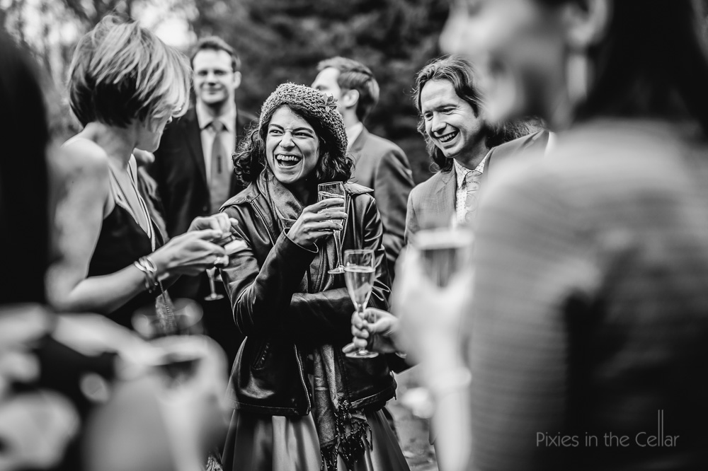champagne and smiles wedding