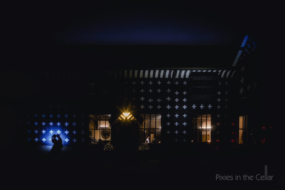 Samlesbury Hall night time wedding silhouette