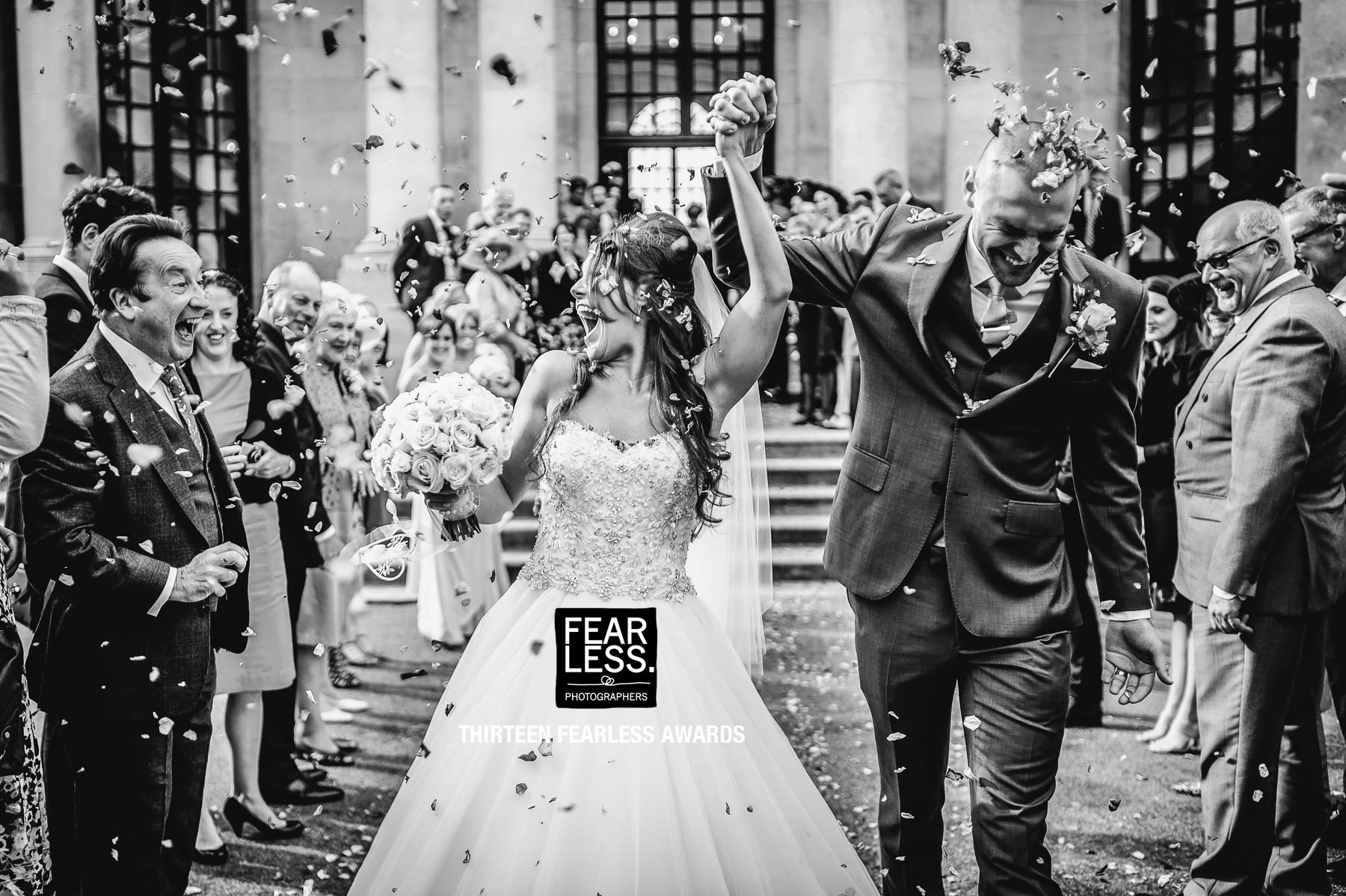 Wedding photography confetti with very happy people