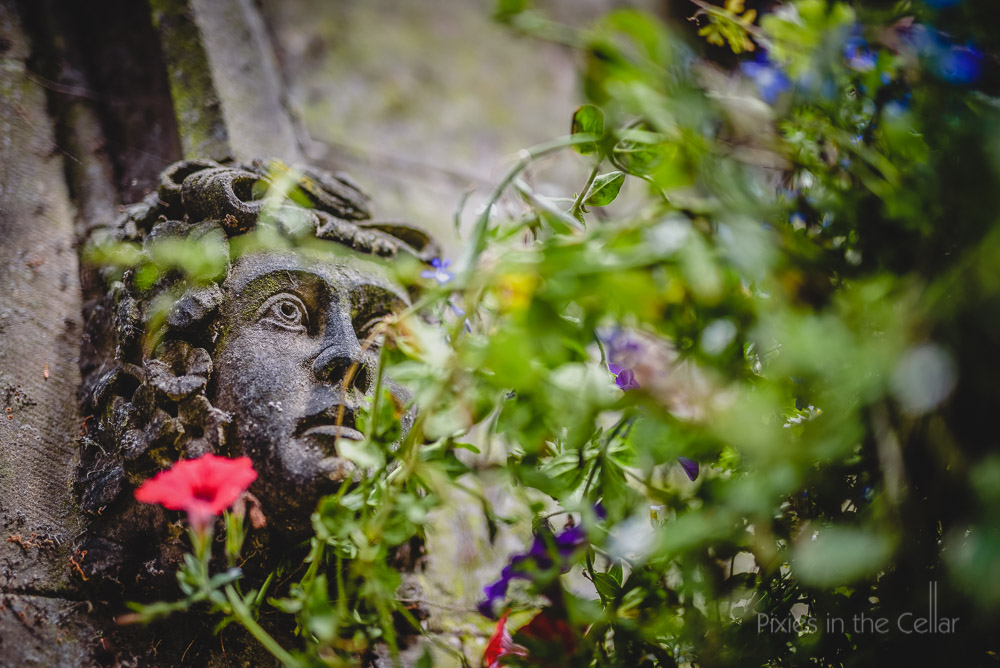 stonework head at hargate hall