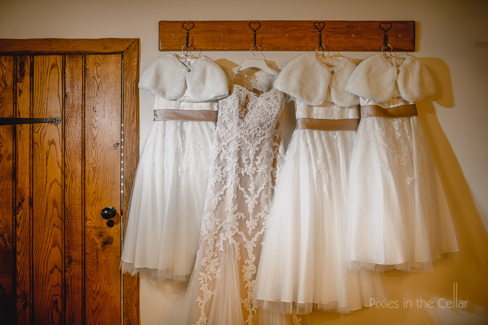 wedding dress and flower girl dresses
