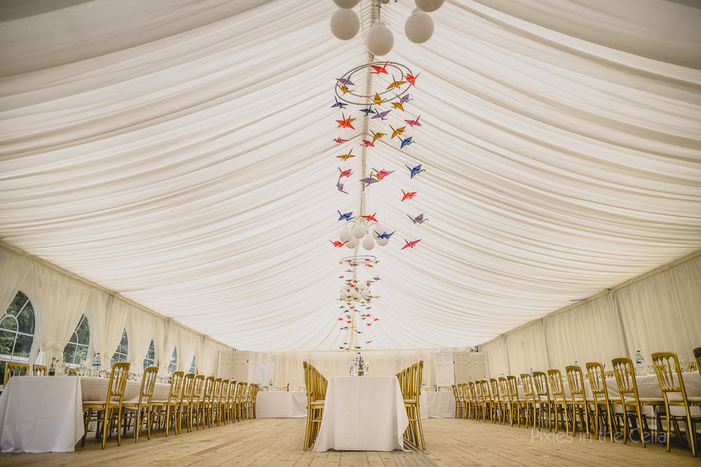 origami crane candelabras in marquee