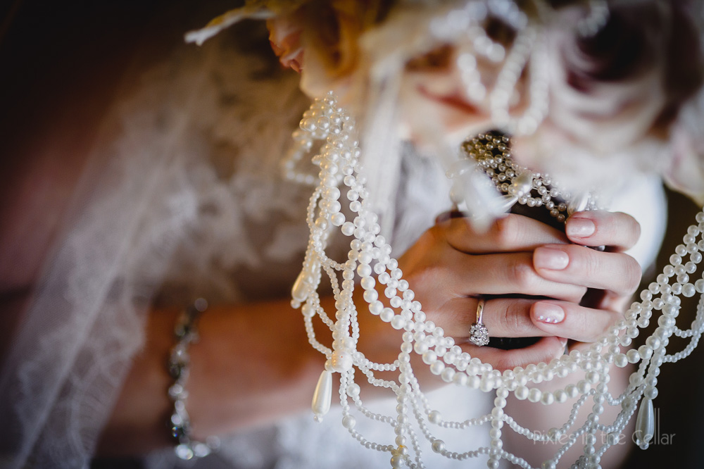 pearls and beads on bouquet