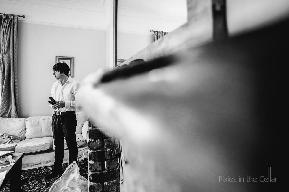 groom getting ready hargate hall