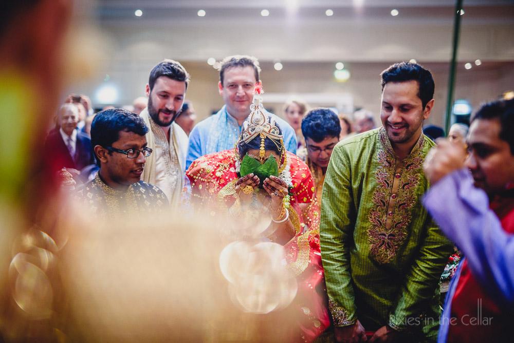 arrival of bride hindu wedding banana leaves