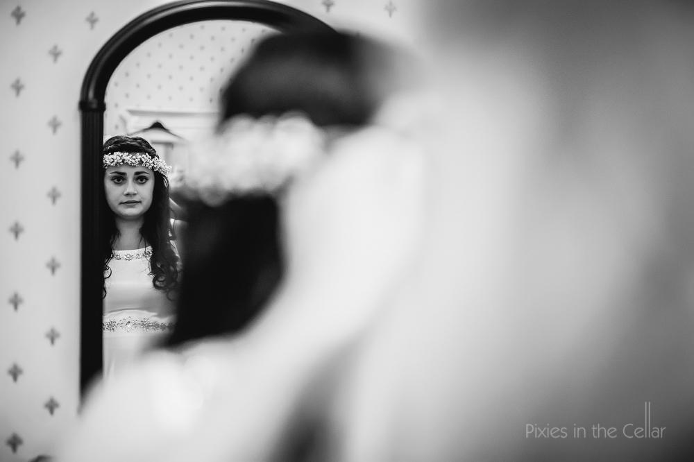 bride in mirror gypsophila flower crown
