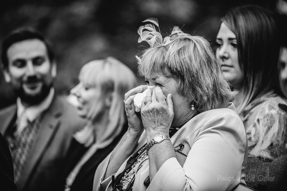 wedding guest crying