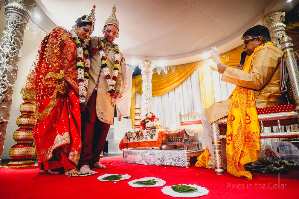 stepping on banana leaves marriage ceremony