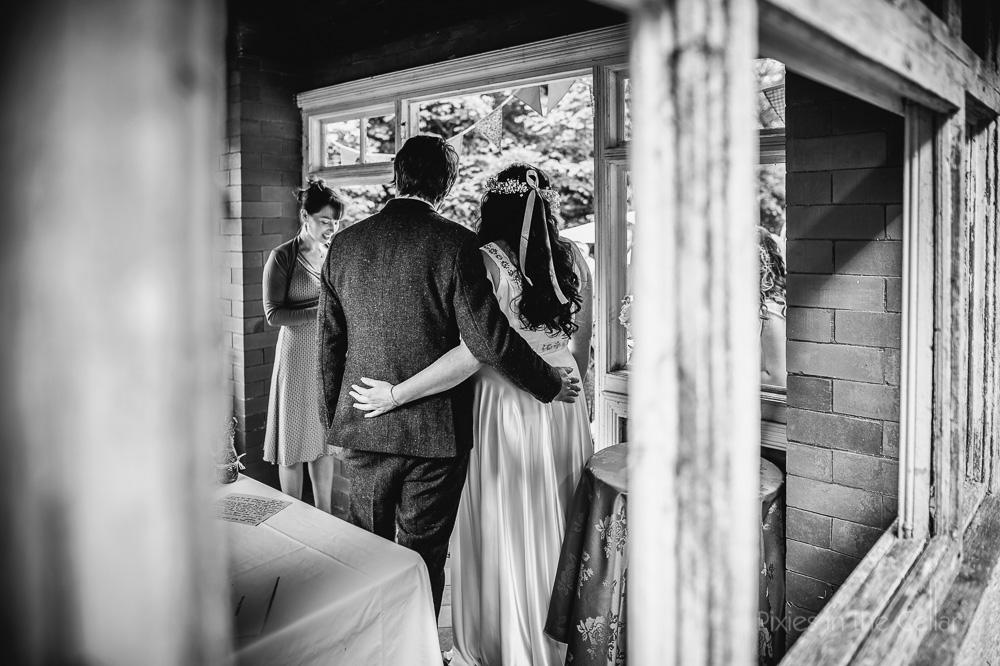 summerhouse outdoor wedding ceremony Peak District