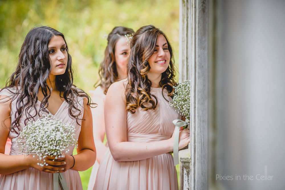 soft pink bridesmaids gypsophila bouquets