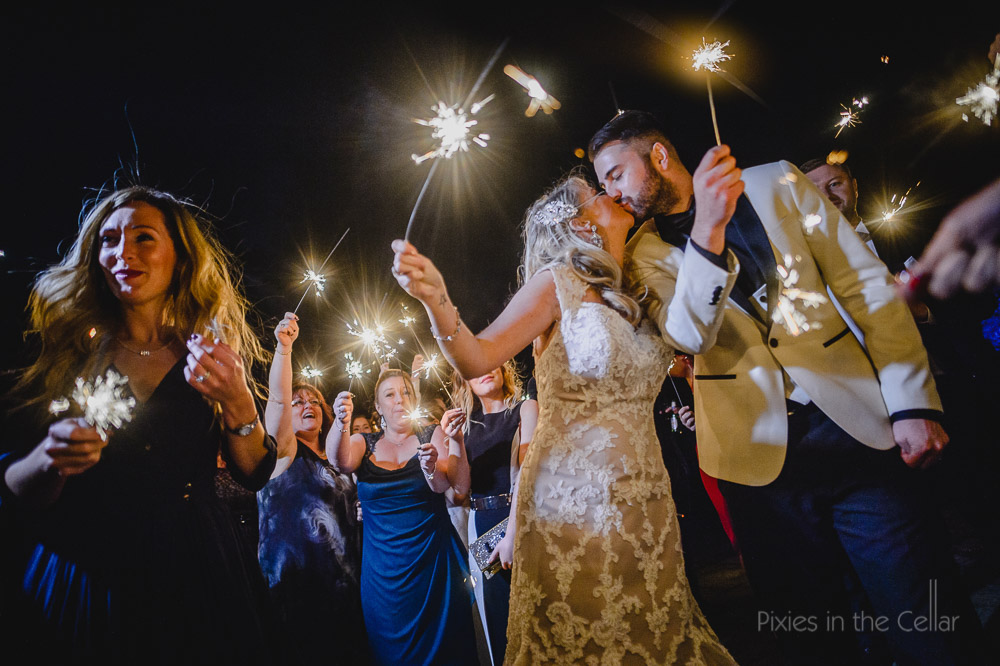 bride groom sparklers
