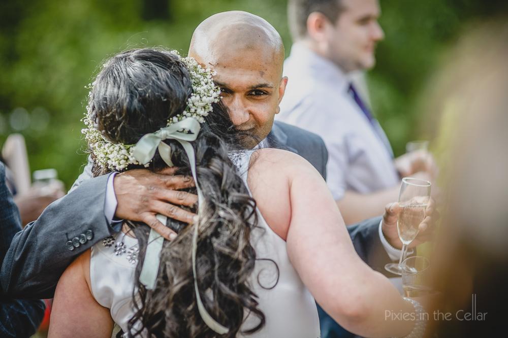 just married hugs boho wedding
