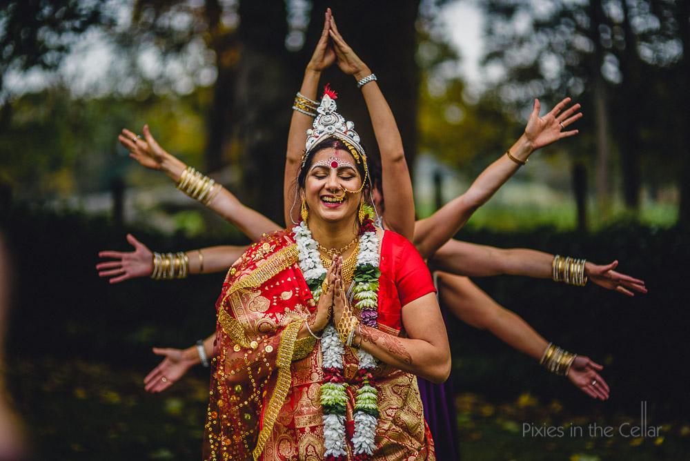 bengali bride and bridesmaids arms