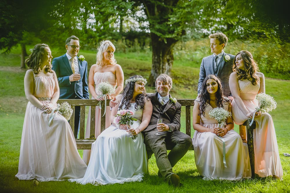 bridal party group shot summer boho wedding