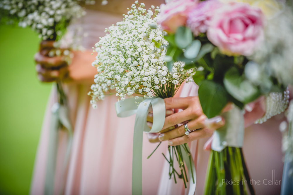 gypsophila and ribbon bouquet