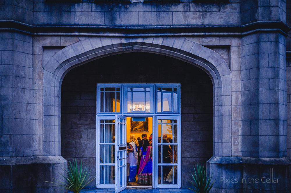 wedding party through doors