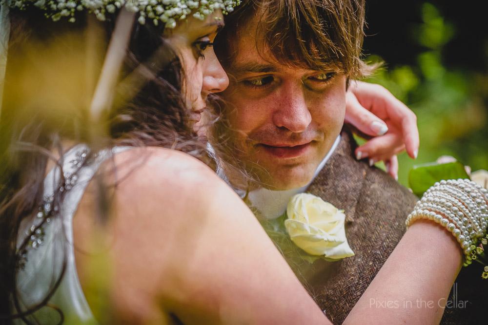 bride groom pearls and tweed