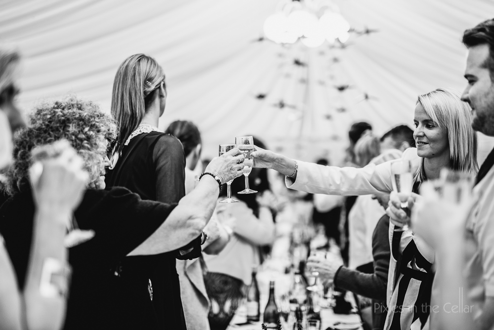 wedding toast in marquee