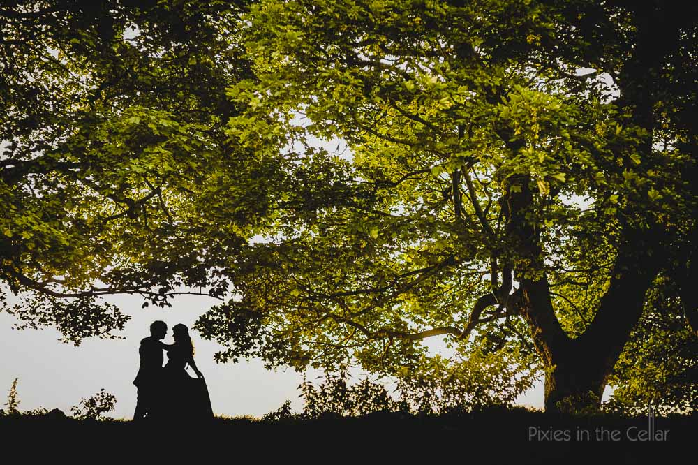 Derbyshire wedding photography silhouette