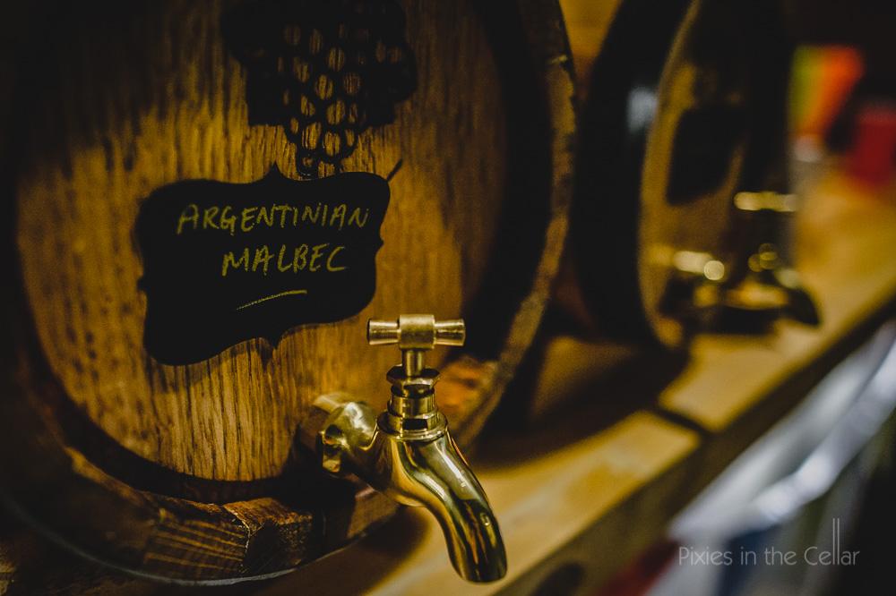 wine barrels on tap wedding