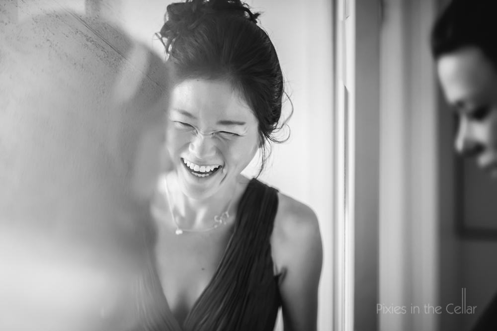 oriental bridesmaid laughing