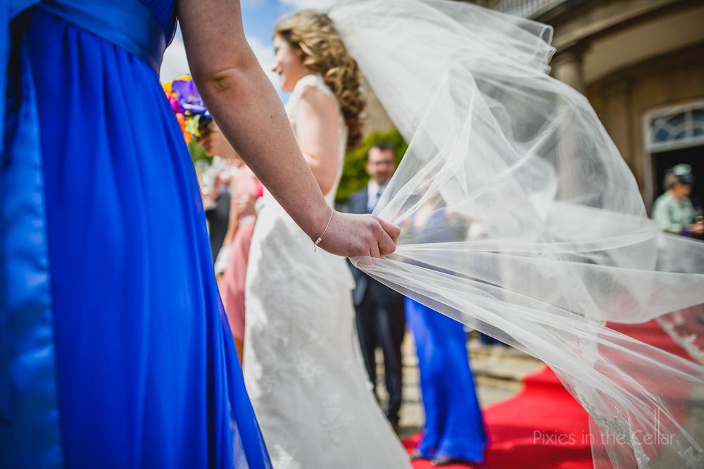 veil in wind blue bridesmaid