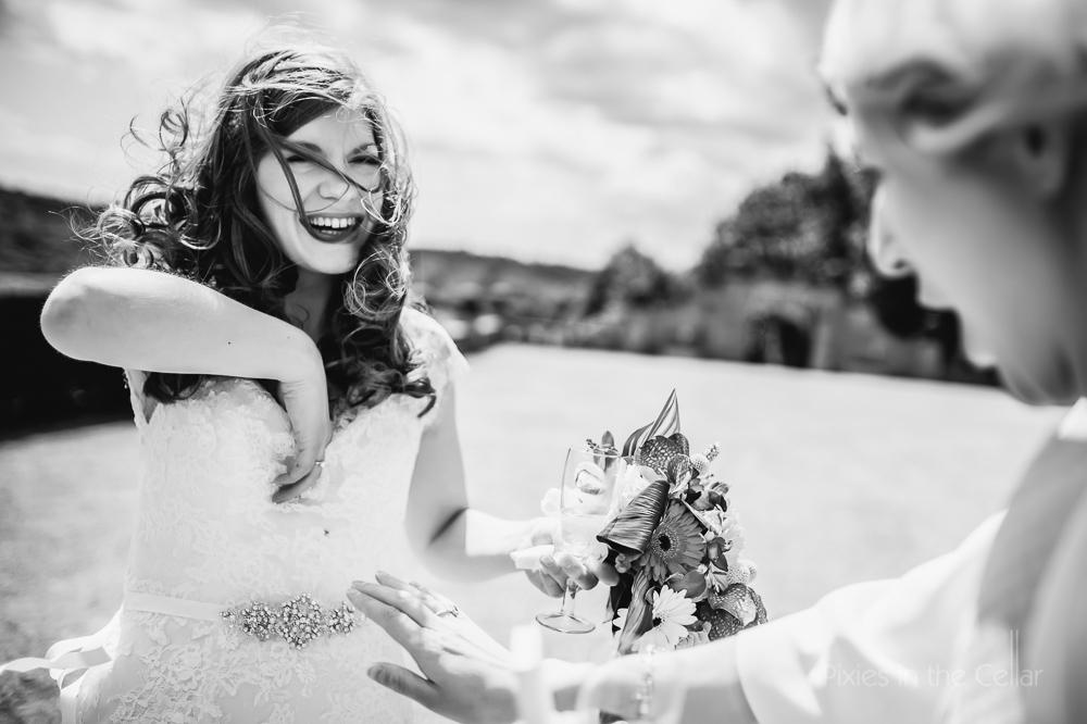 bride and confetti retreival