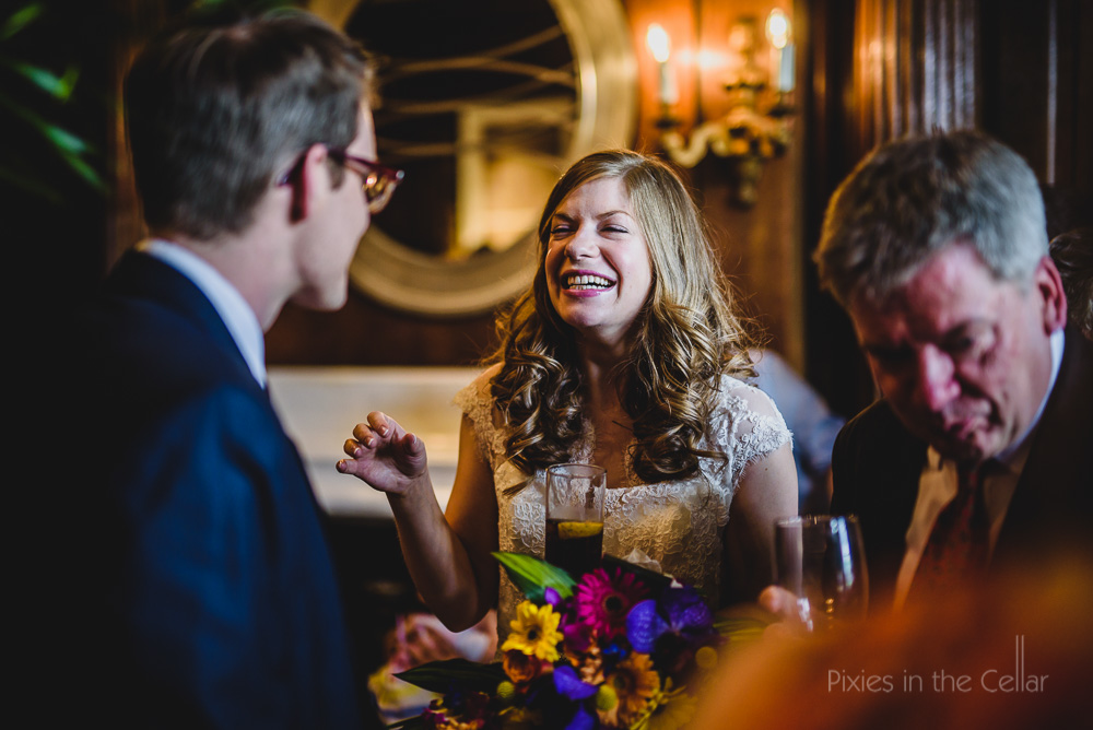 yorkshire bride smiling with guest