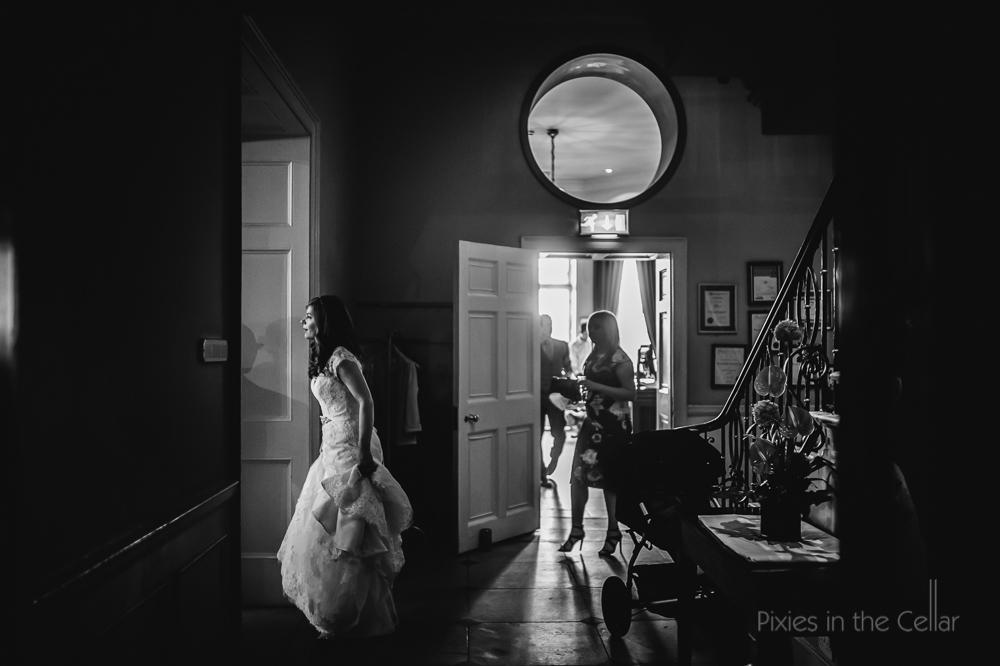 bride entering wedding reception yorkshire hotel