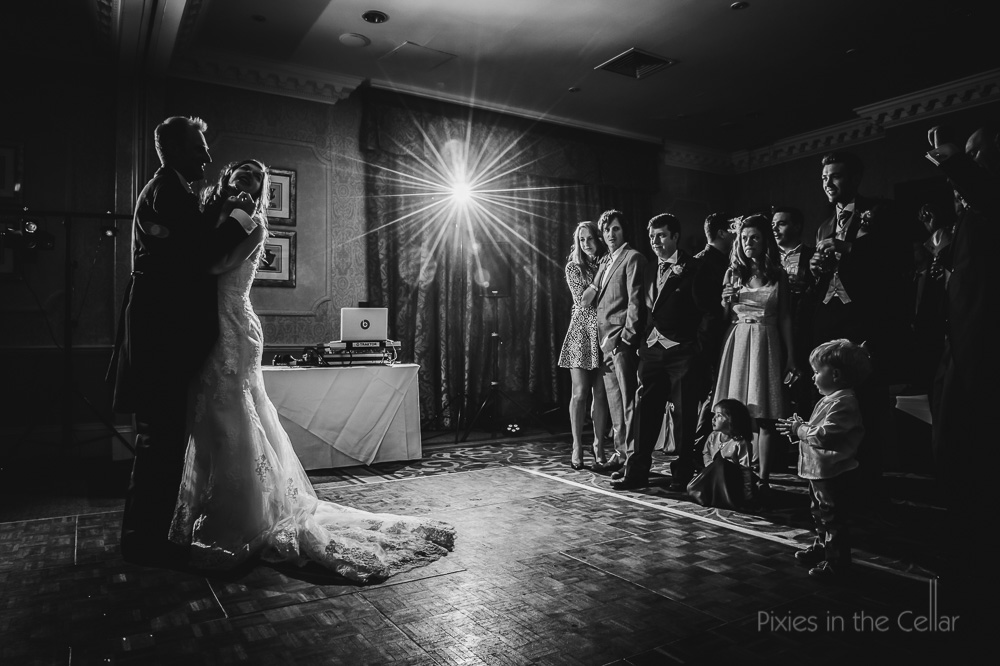 black and white first dance at wood hall hotel