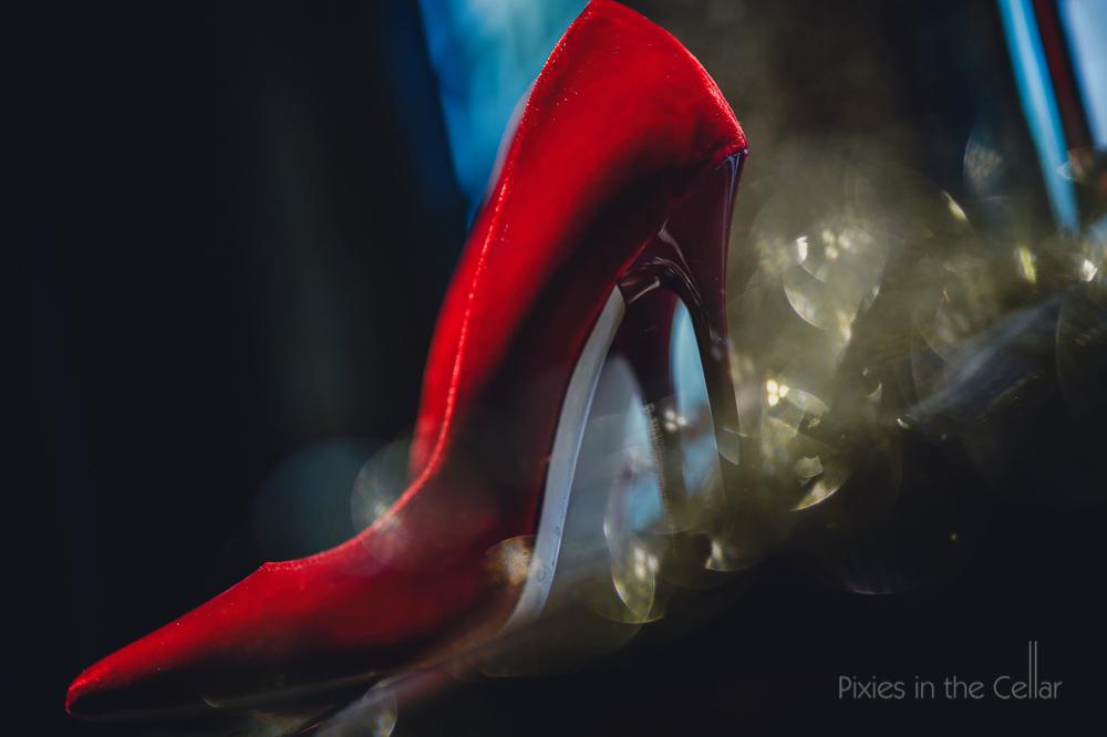 red velvet jimmy choo wedding shoes
