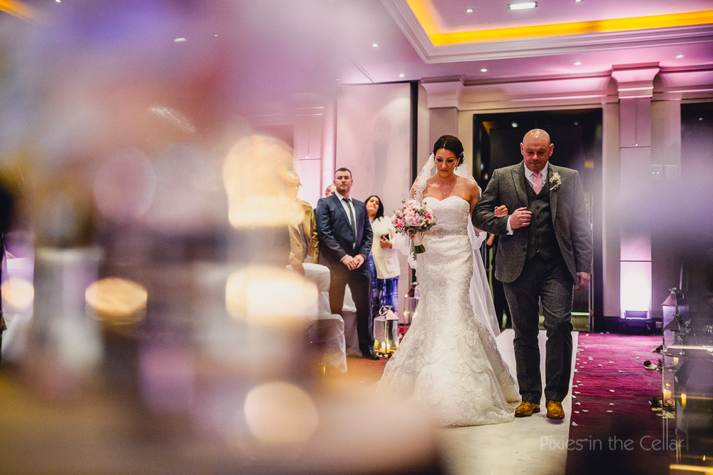 bride and dad radisson blu edwardian winter wedding ceremony