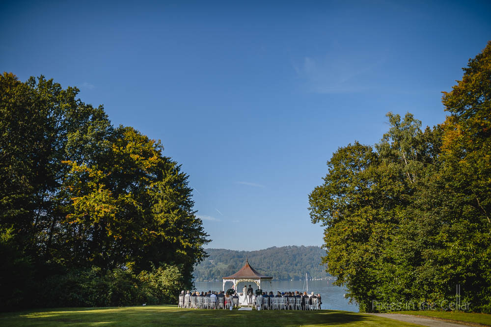 Storrs Hall outdoor wedding ceremony blue sky Lake District