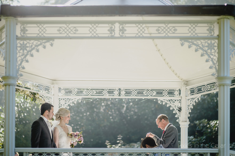 wedding ceremony in garden pavilion storrs hall