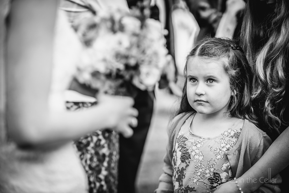 girl looking at bride