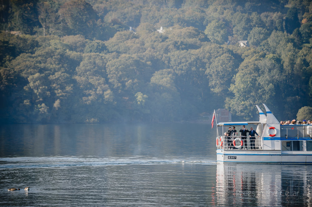 wedding guests on lake windermere cruise
