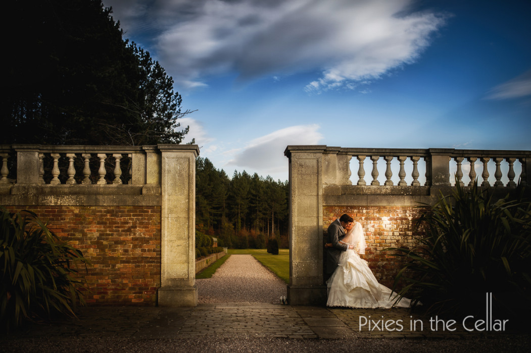 BRide groom stately home wall