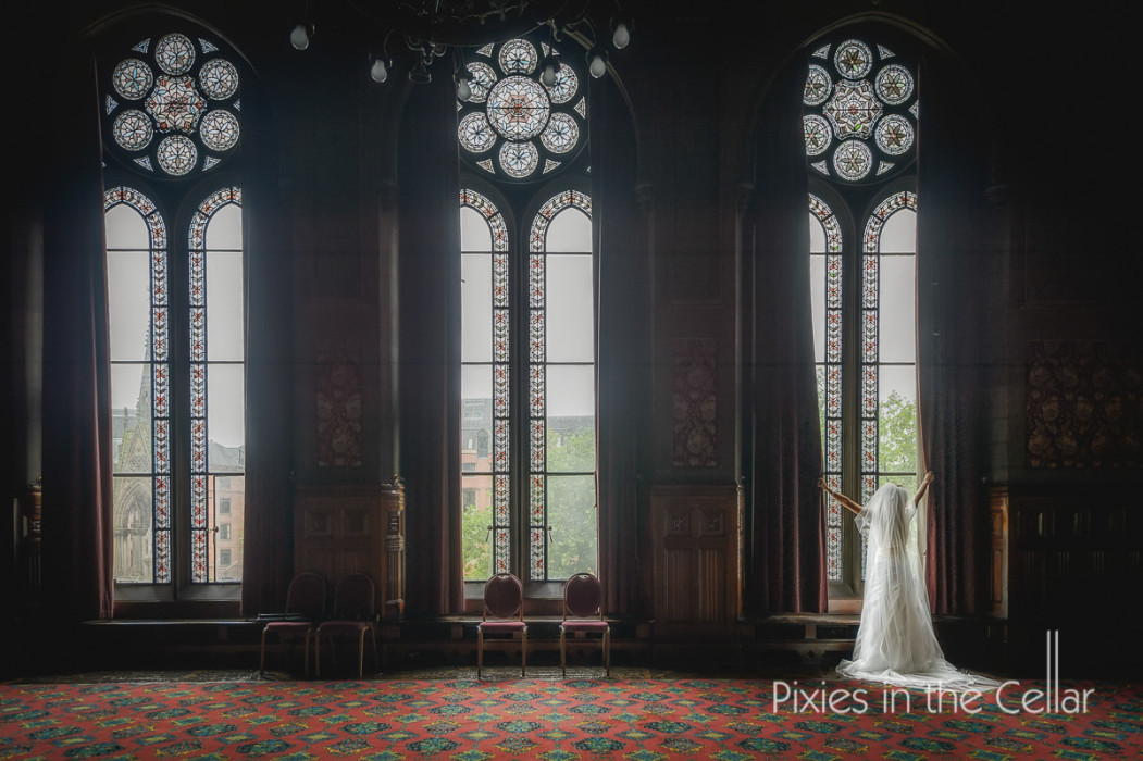 Manchester town hall bride at window