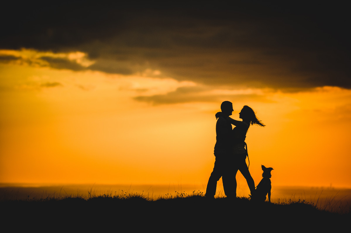 couple and dog at sunset by Cheshire wedding photographers