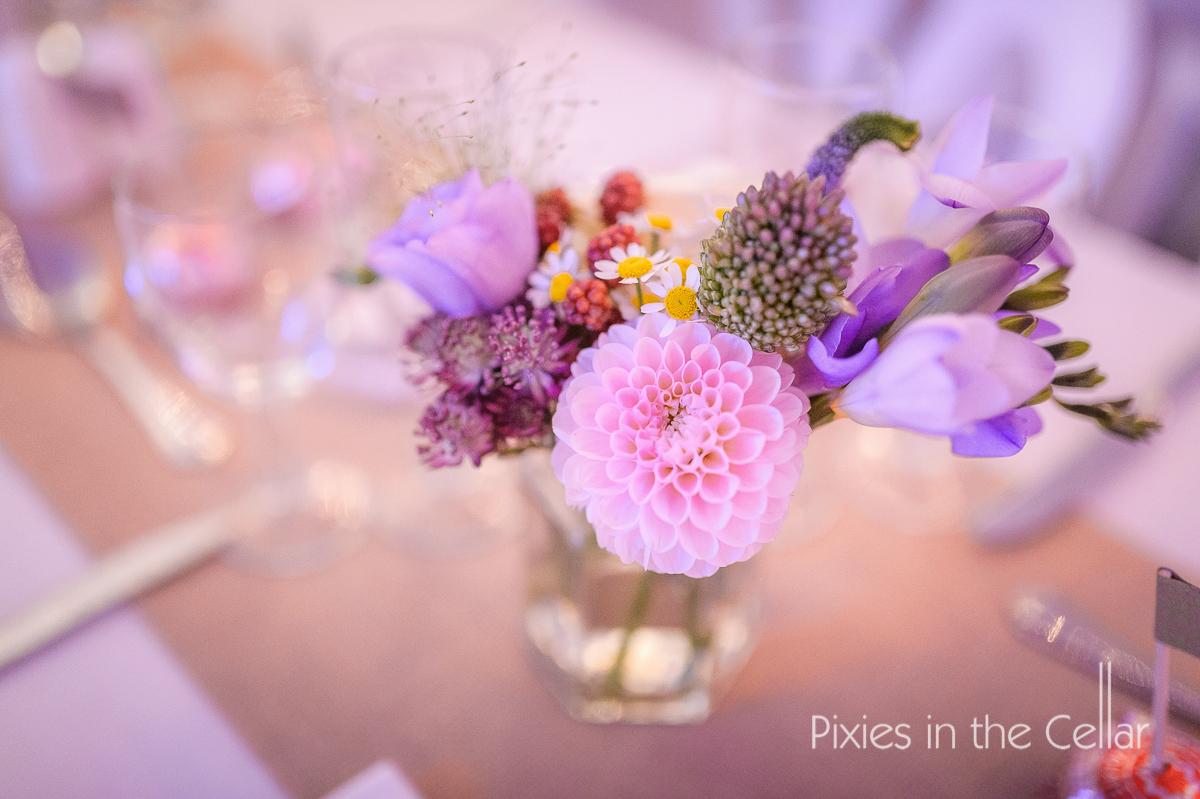 Pink and purple jam jar wildflowers